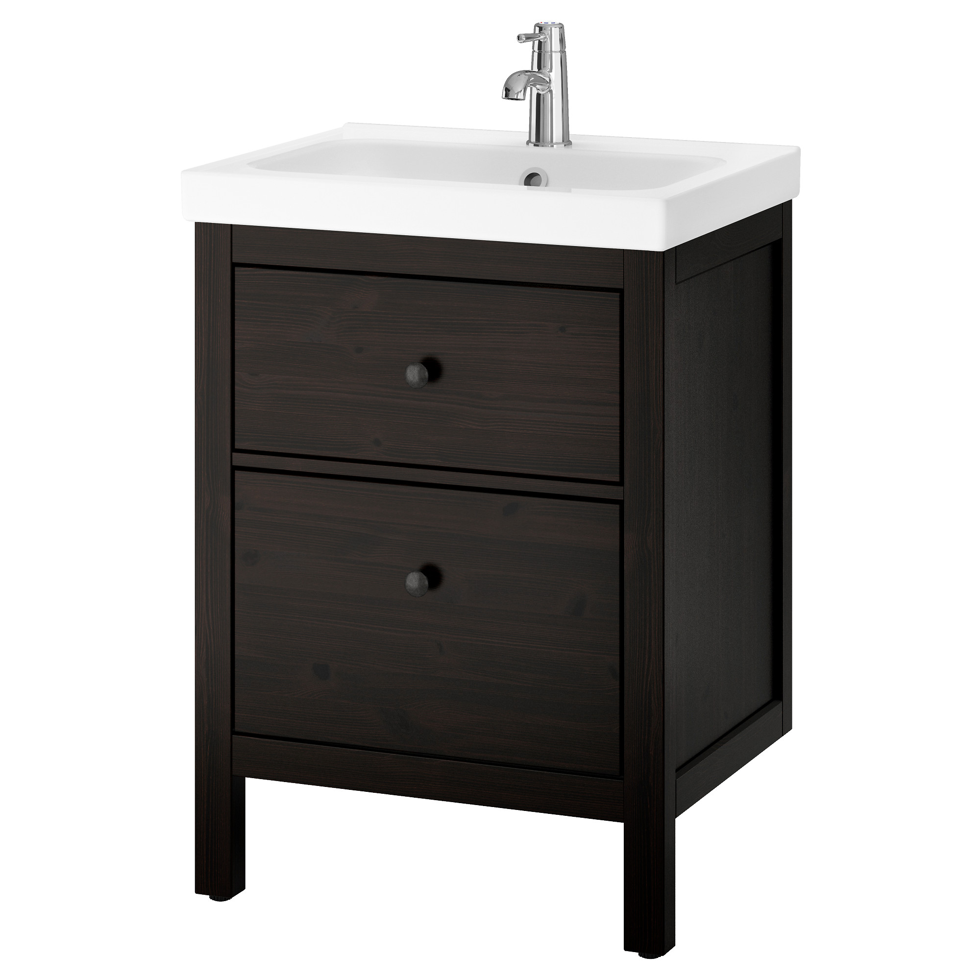 hemnes odensvik sink cabinet with 2 drawers black brown stain width 24