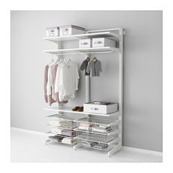 ALGOT post/foot/wire baskets, white Width: 127 cm Depth: 47 cm Height: 194 cm