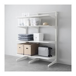ALGOT post/foot/shelves, white Width: 147 cm Depth: 67 cm Height: 194 cm