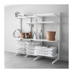 ALGOT post/foot/mesh baskets, metal white Width: 209 cm Depth: 67 cm Height: 194 cm