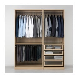 PAX wardrobe, white stained oak effect Width: 175.0 cm Depth: 58.0 cm Height: 201.2 cm