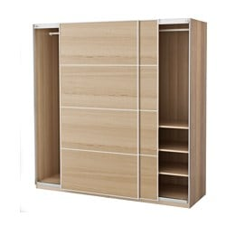 "PAX wardrobe, white stained oak effect, Ilseng white stained oak veneer Width: 78 3/4 "" Depth: 26 "" Height: 79 1/4 "" Width: 200.0 cm Depth: 66.0 cm Height: 201.2 cm"