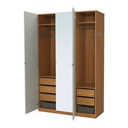 PAX, Wardrobe, oak effect, Vikedal mirror glass