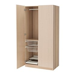 PAX wardrobe, white stained oak effect, Nexus white stained oak veneer Width: 100.0 cm Depth: 60.0 cm Height: 201.2 cm