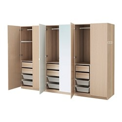 PAX wardrobe, white stained oak effect, Nexus Vikedal Width: 300 cm Depth: 60 cm Height: 201.2 cm