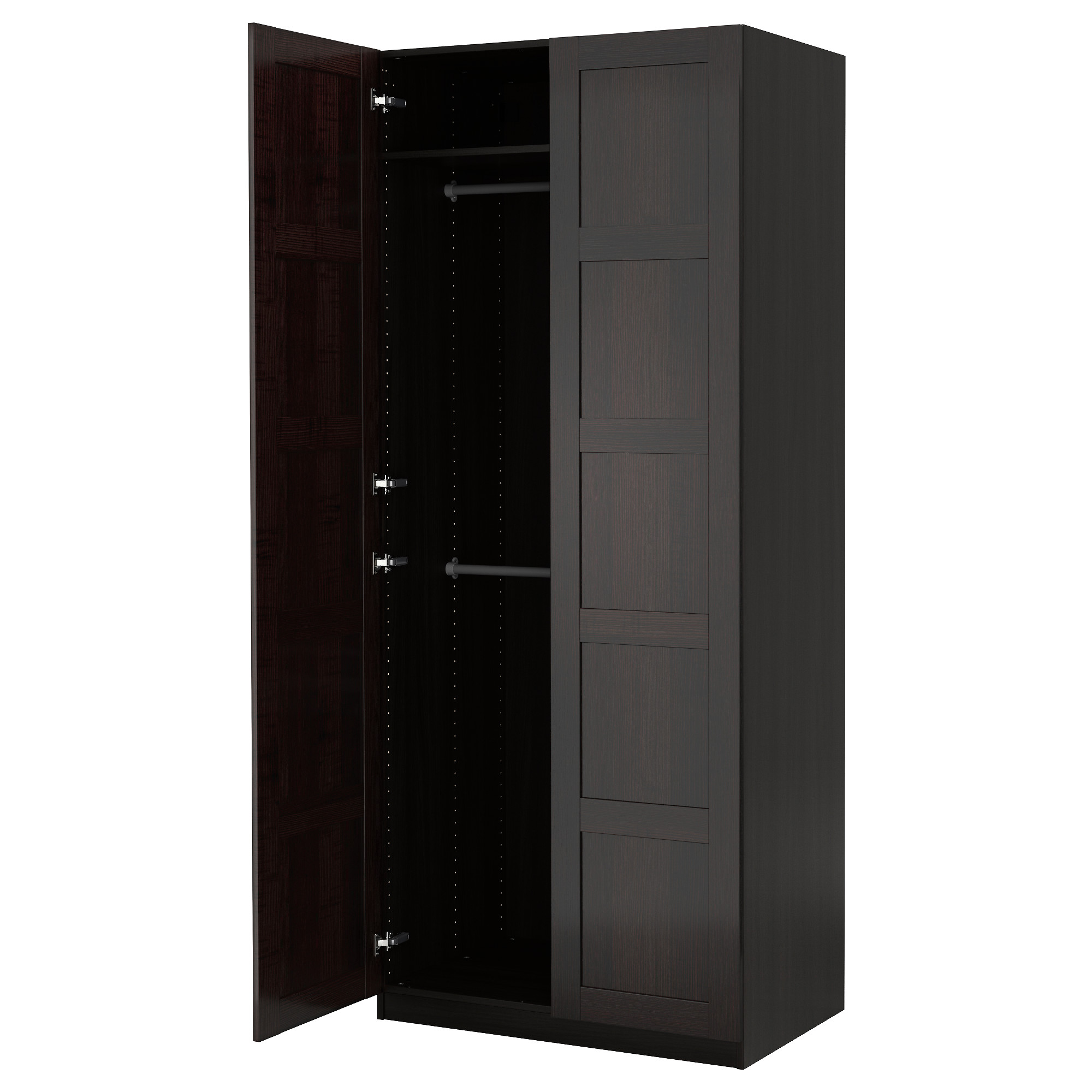 Freestanding closet system with doors winda 7 furniture for Armoire conforama noir