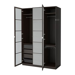 PAX wardrobe, black-brown, Fevik frosted glass