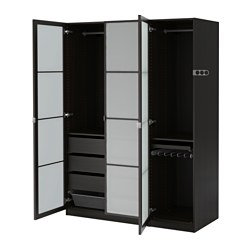 PAX wardrobe, Fevik frosted glass, black-brown Width: 150.0 cm Depth: 60.0 cm Height: 201.2 cm