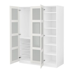 PAX wardrobe, Bergsbo frosted glass, white Width: 150 cm Depth: 60 cm Height: 201.2 cm