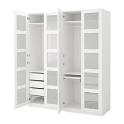 PAX wardrobe, Bergsbo frosted glass, white Width: 200 cm Depth: 60 cm Height: 236.4 cm