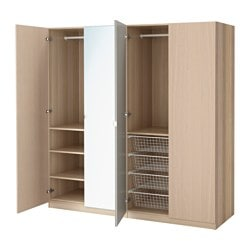 PAX wardrobe, white stained oak effect, Nexus Vikedal Width: 200.0 cm Depth: 60.0 cm Height: 201.2 cm