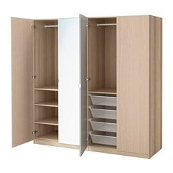 PAX wardrobe, Nexus Vikedal, white stained oak effect Width: 200.0 cm Depth: 60.0 cm Height: 201.2 cm