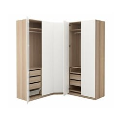 PAX wardrobe, white stained oak effect, Tanem white Depth: 60 cm Height: 236.4 cm Width right: 196 cm