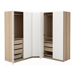 PAX wardrobe, white stained oak effect, Tanem white Depth: 60 cm Height: 201.2 cm Width right: 196 cm