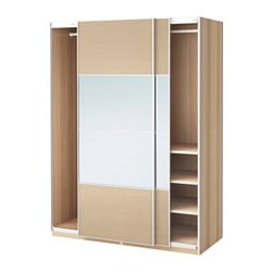 PAX wardrobe, white stained oak effect, Auli Ilseng Width: 150 cm Depth: 66 cm Height: 201.2 cm
