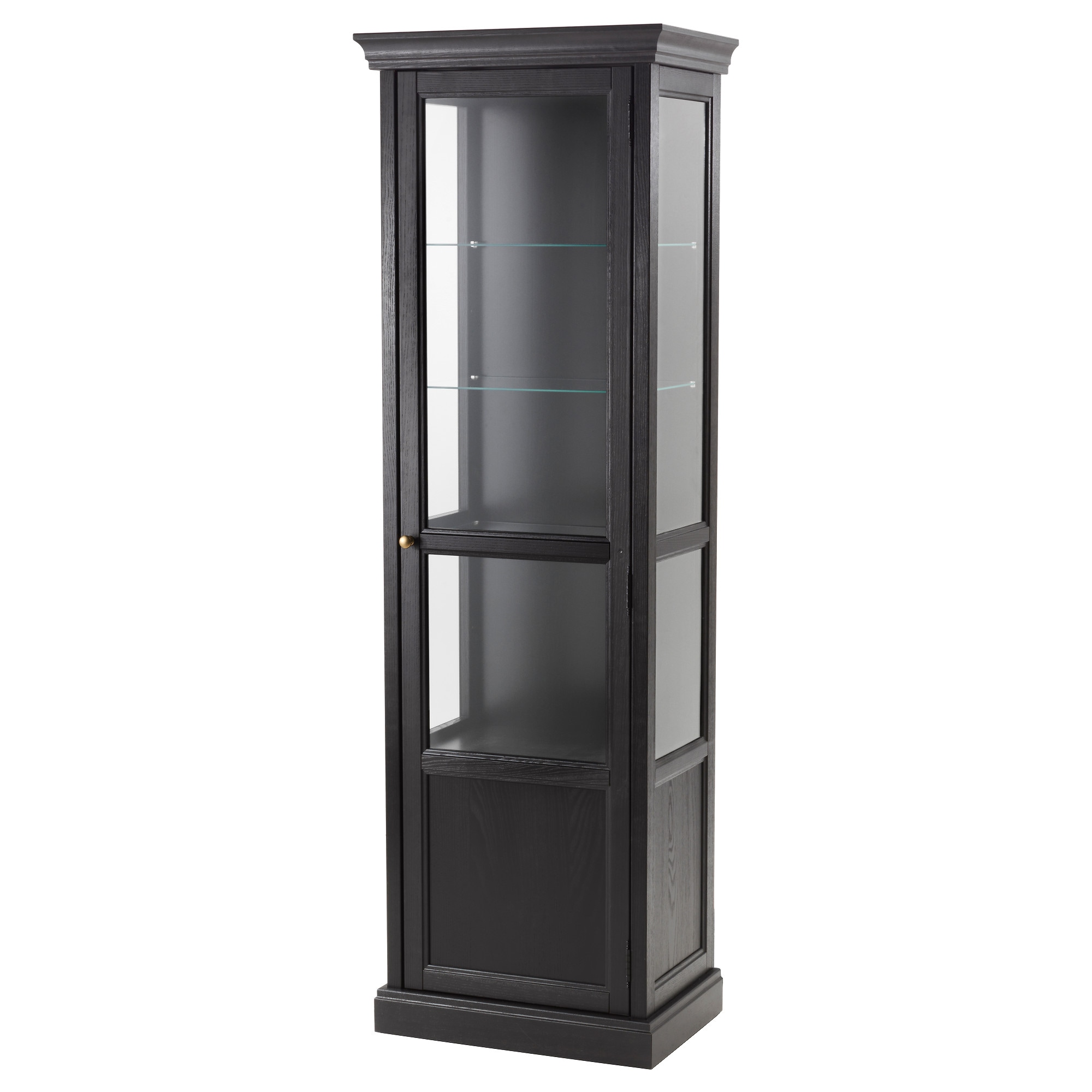 Beautiful MALSJÖ Glass Door Cabinet, Black Stained Black Stained Width: 23 5/8