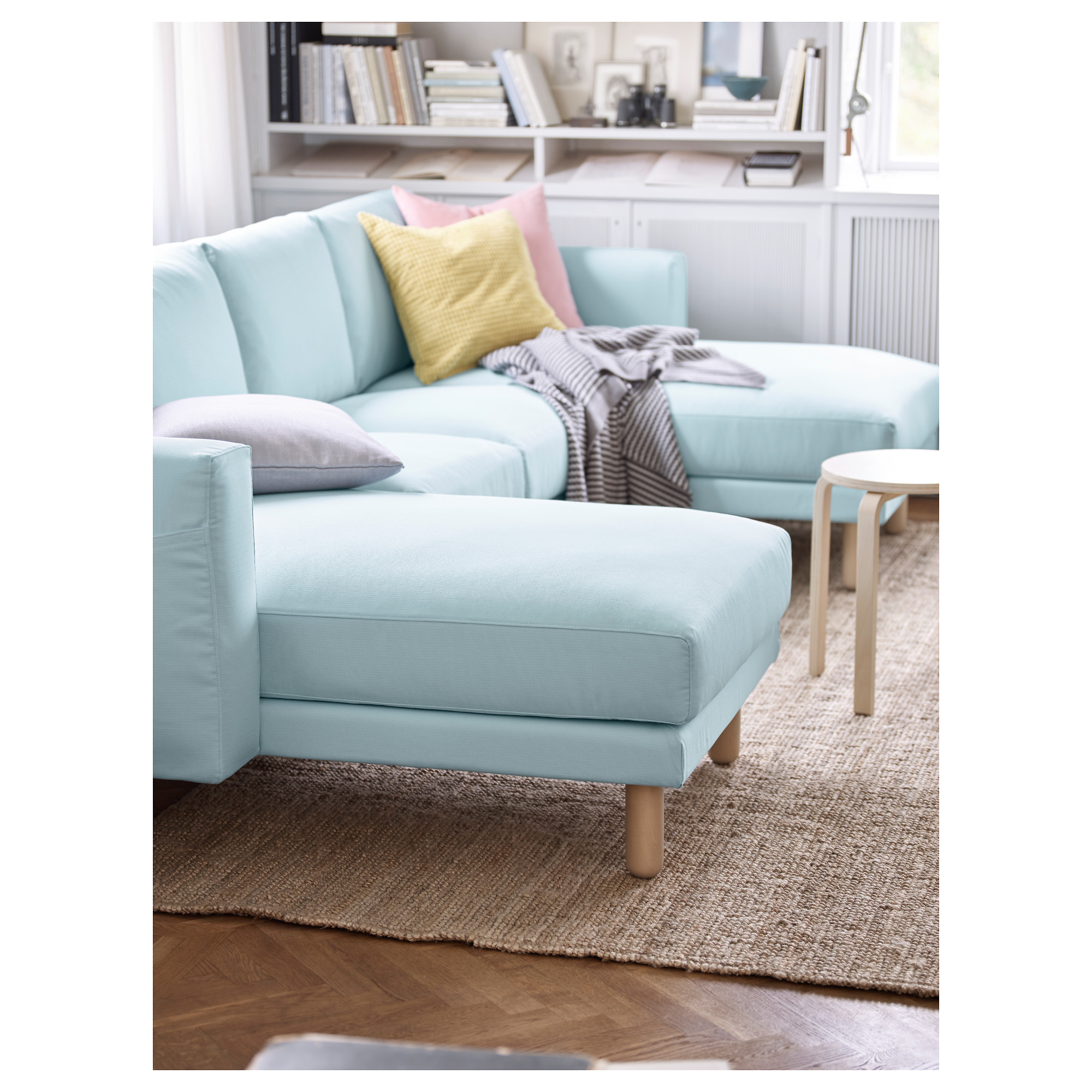 NORSBORG Sectional 4 seat Edum light blue birch IKEA