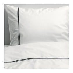 HÄXÖRT quilt cover and pillowcase, grey, white Pillowcase quantity: 1 pack Quilt cover length: 200 cm Quilt cover width: 150 cm