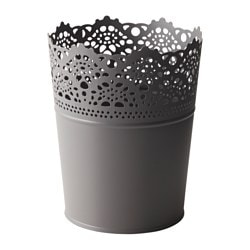 SKURAR plant pot, grey, in/outdoor Outside diameter: 12 cm Max. diameter flowerpot: 10.5 cm Height: 15 cm
