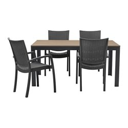 FALSTER /  INNAMO table+4 chairs w armrests, outdoor, dark grey, black-brown