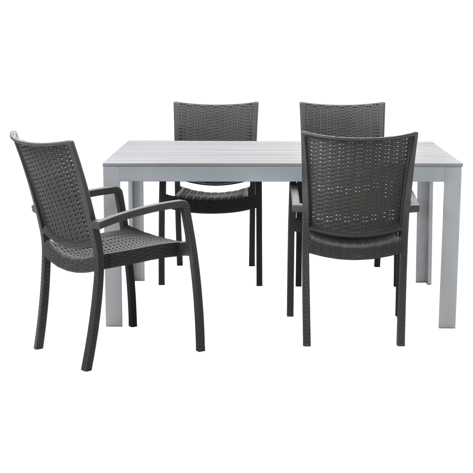 Black outdoor dining table - Falster Innamo Table And 4 Armchairs Outdoor Gray Dark Gray