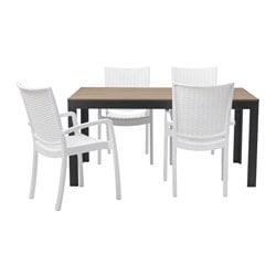 FALSTER /  INNAMO table and 4 armchairs, outdoor, white, black-brown