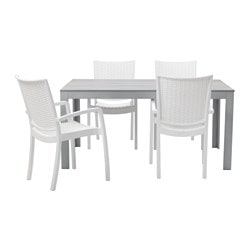 FALSTER /  INNAMO table+4 chairs w armrests, outdoor, white, grey