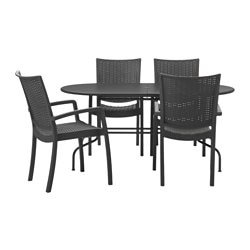 LÄCKÖ / INNAMO table+4 chairs w armrests, outdoor, dark grey, grey