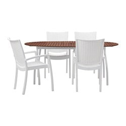 VINDALSÖ /  INNAMO table+4 chairs w armrests, outdoor, brown stained, white
