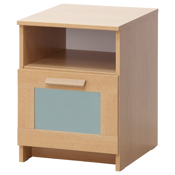 0bb19d09f407 BRIMNES Bedside table, oak effect, frosted glass, 39x41 cm
