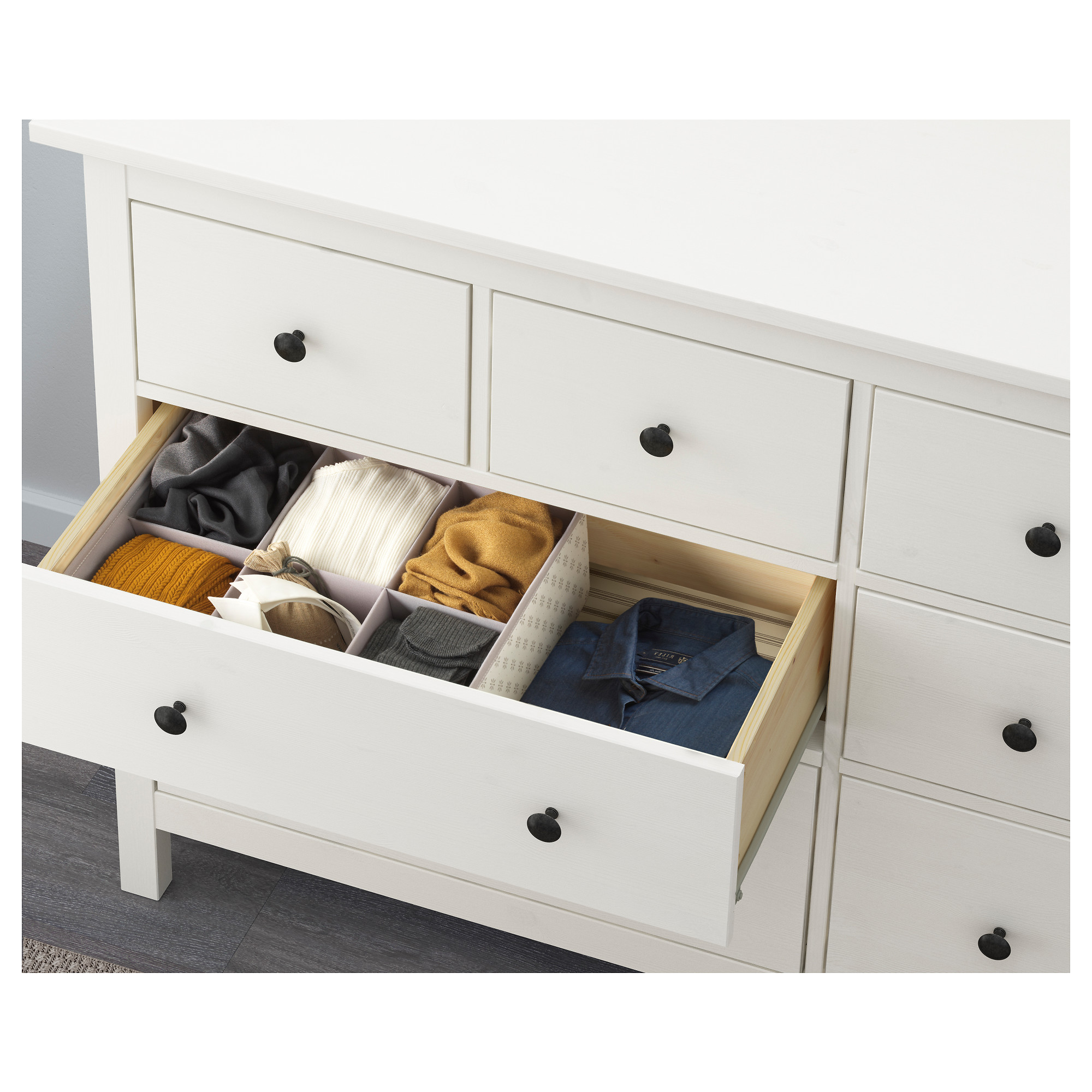 HEMNES 8-drawer dresser - dark gray stained, 63x37 3/8 \