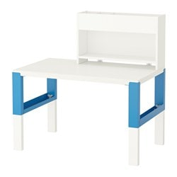 PÅHL desk with add-on unit, blue, white Width: 96 cm Depth: 58 cm Min. height: 98 cm