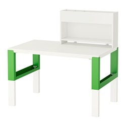 "PÅHL desk with add-on unit, white, green Width: 37 3/4 "" Depth: 22 7/8 "" Min. height: 38 5/8 "" Width: 96 cm Depth: 58 cm Min. height: 98 cm"