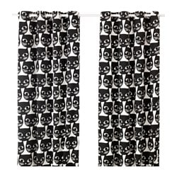 MATTRAM curtains, 1 pair, white, black