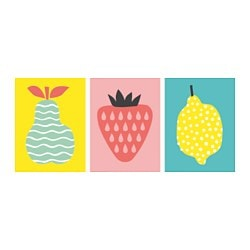 TRILLING poster, set of 3, trio of fruits Width: 30 cm Height: 40 cm