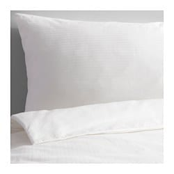 "STORMÅRA duvet cover and pillowcase(s), white Thread count: 990 square inches Duvet cover length: 86 "" Duvet cover width: 86 "" Thread count: 990 square inches Duvet cover length: 218 cm Duvet cover width: 218 cm"