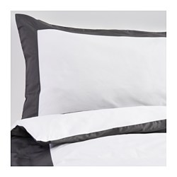 KUDDFLOX quilt cover and 4 pillowcases, grey, white Pillowcase quantity: 4 pack Quilt cover length: 200 cm Quilt cover width: 200 cm