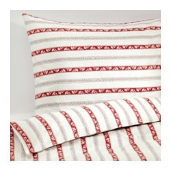 "PÄRLHYACINT duvet cover and pillowcase(s), striped, white Duvet cover length: 86 "" Duvet cover width: 86 "" Pillowcase length: 20 "" Duvet cover length: 218 cm Duvet cover width: 218 cm Pillowcase length: 51 cm"