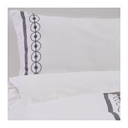PLISTER quilt cover and 4 pillowcases, grey, white Thread count: 208 /inch² Pillowcase quantity: 4 pieces Quilt cover length: 200 cm