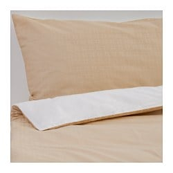 EKORRBÄR quilt cover and 2 pillowcases, beige, white Pillowcase quantity: 2 pack Quilt cover length: 220 cm Quilt cover width: 240 cm