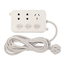 KOPPLA 3-way socket with 3 switches, earthed, white Cord length: 3 m