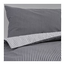 RÖDNARV quilt cover and pillowcase, grey, stripe Thread count: 295 /inch² Quilt cover length: 200 cm Quilt cover width: 150 cm