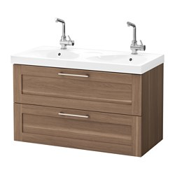 GODMORGON /  EDEBOVIKEN wash-stand with 2 drawers, walnut effect Width: 102 cm Wash-stand width: 100 cm Depth: 49 cm