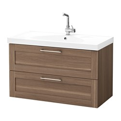 "GODMORGON /  EDEBOVIKEN sink cabinet with 2 drawers, walnut effect walnut Width: 40 1/8 "" Sink cabinet width: 39 3/8 "" Depth: 19 1/4 "" Width: 102 cm Sink cabinet width: 100 cm Depth: 49 cm"