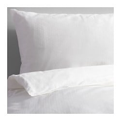 "SKUGGLILJA duvet cover and pillowcase(s), white Thread count: 295 square inches Duvet cover length: 86 "" Duvet cover width: 86 "" Thread count: 295 square inches Duvet cover length: 218 cm Duvet cover width: 218 cm"