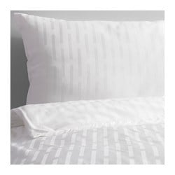 STRANDGYLLEN quilt cover and 4 pillowcases, white, stripe Pillowcase quantity: 4 pack Quilt cover length: 200 cm Quilt cover width: 200 cm