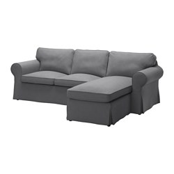 EKTORP two-seat sofa and chaise longue, Nordvalla dark grey Width: 252 cm Min. depth: 88 cm Max. depth: 163 cm