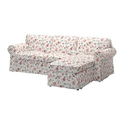 EKTORP cover for loveseat with chaise, Videslund multicolor