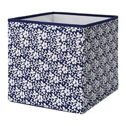 DRÖNA box, blue, white floral patterned