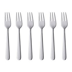 MARTORP cake/dessert fork, stainless steel Length: 15 cm Package quantity: 6 pack